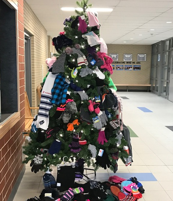 Hats, Mittens & Scarves cover the tree