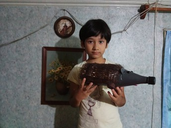 Milan, Grade 1, with his award winning recycled hedgehog