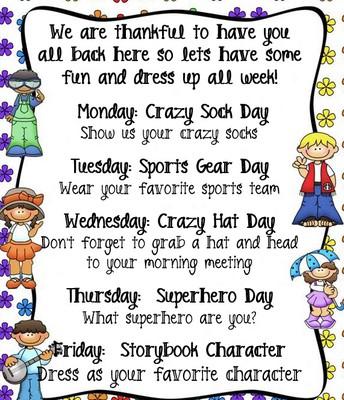 Dress-Up Week Schedule