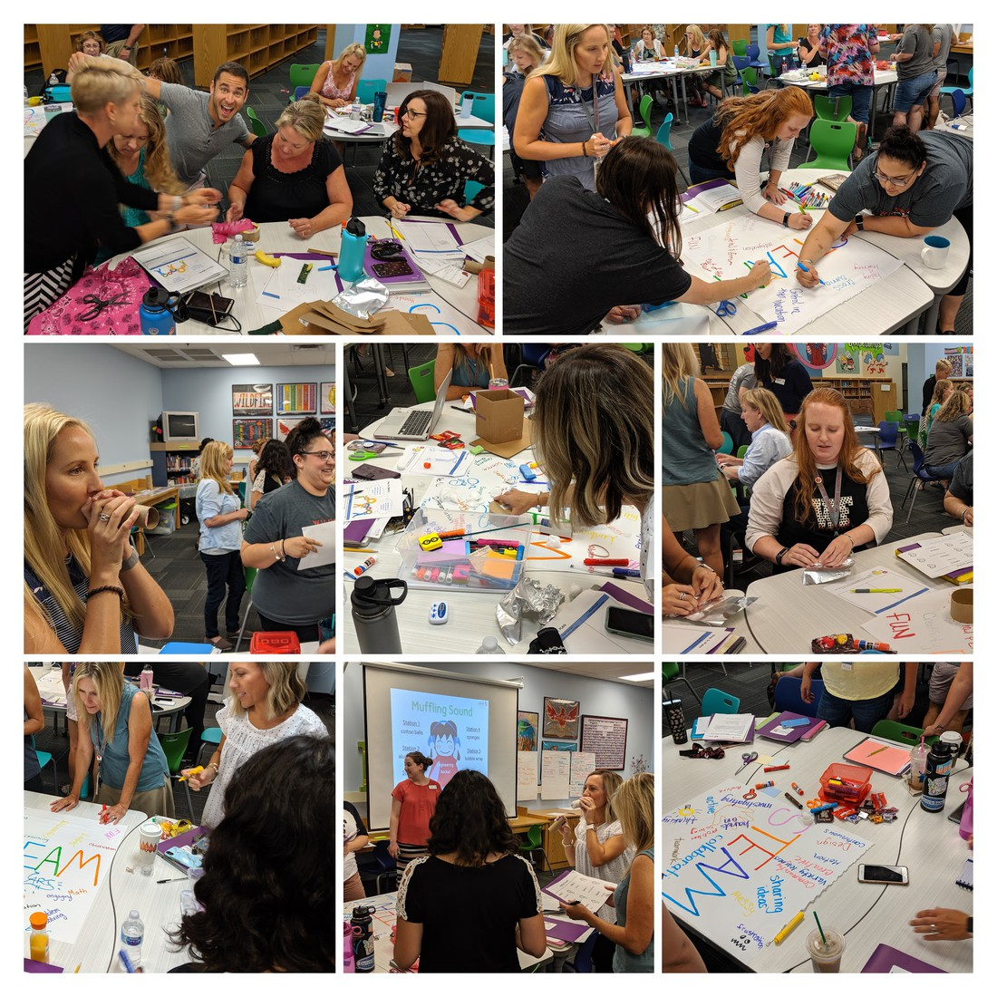 a collage of pictures of teachers during a STEAM training from the Arizona Science Center