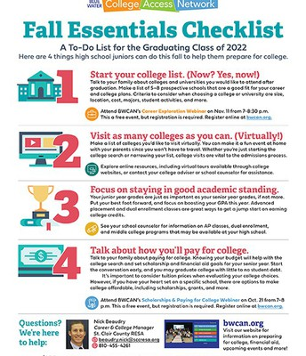 11th Grade Fall Essentials Checklist