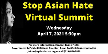 """A black photo with a womens face in the left side reads in yellow letters """"Stop Asian Hate Virtual Summit"""" with event details in white below."""