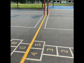 Painted lines for the playground zones