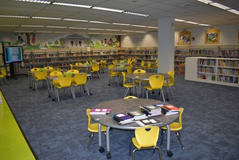 the media center at Griffin Elementary School