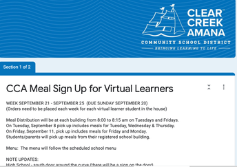 Meal Sign up for Virtual Learners