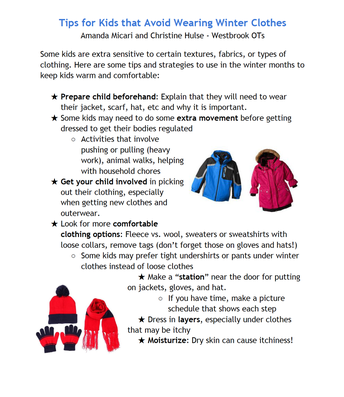 Occupational Therapists Winter Tips