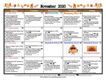 2020-21 Breakfast and Lunch Menu