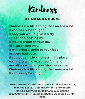 Primary Poem- Kindness by Amanda Burns