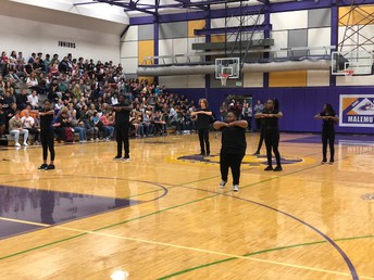 Lathrop Step Team performs Wednesday at the assembly.