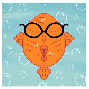 Cute Nerd Fish Kiss Cartoon Pic