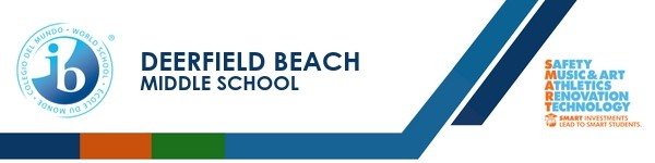 A graphic banner that shows Deerfield Beach Middle School's name and SMART logo