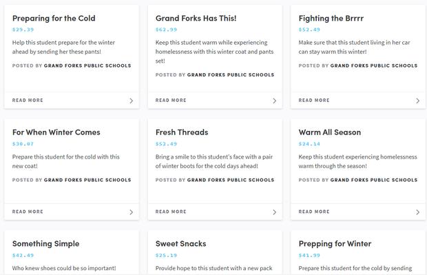 list of items on Purposity website
