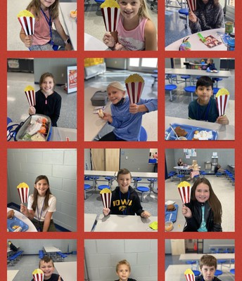Oak Hill Elementary Students and their Popcorn Props