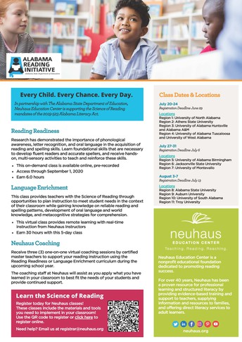 ALSDE and Neuhaus Education Center Science of Reading Opportunity