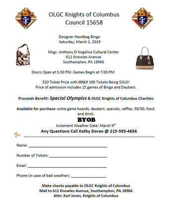 OLGC Knights of Columbus Designer Bag Bingo