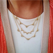 Gold Pave Chevron Necklace - $45