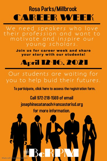 Click here to register as a speaker for Career Week.