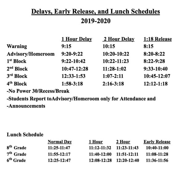 WSPMS Delays, Early Release, and Lunch Schedules 2019-2020