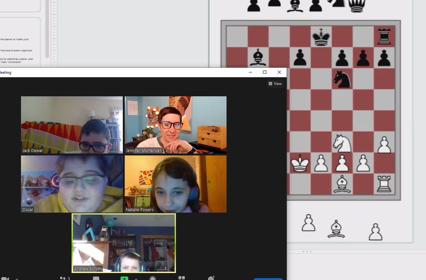 Some of Mrs. Mortensen's 6th graders had fun playing virtual chess!