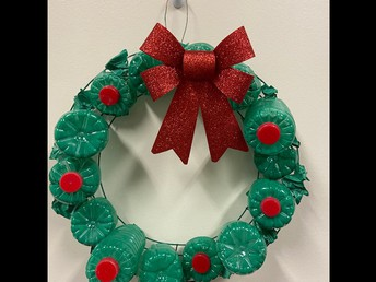 Recycled materials wreath