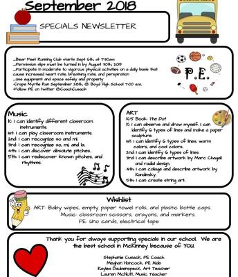 Specials Team's September Newsletter