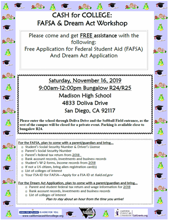 FAFSA and Dream Act Workshop Flier