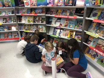 Students engaged at the Book Fair.