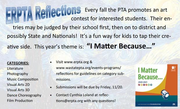 "ERPTA Reflections flyer, ""I matter because..."""