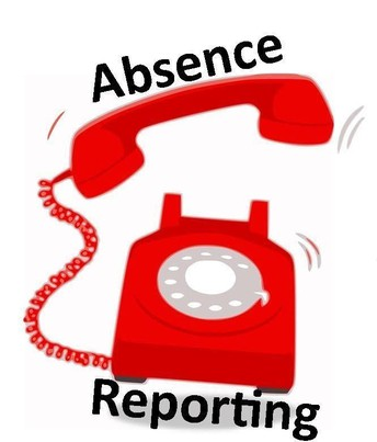 "Graphic of ringing telephone - Words ""Absence"" and ""Reporting"""