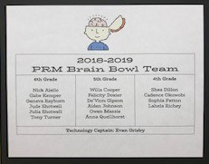 PRM Brain Bowl Team Schedule for February & March