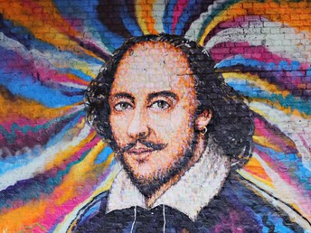 Colorful image of William Shakespeare's head