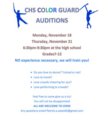 CHS Color Guard Auditions for Grades 7-12