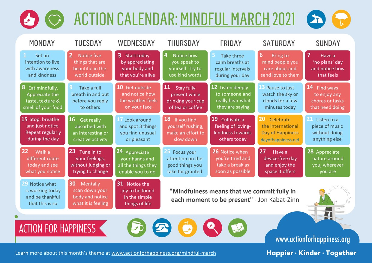Pictured is an Action Calendar for March with daily mindfulness activities.