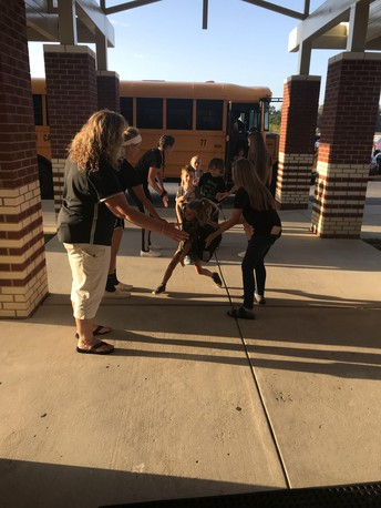 CCHS Volleyball Team Greets Students at CIS
