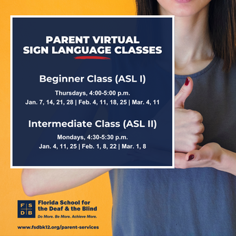 Parent Virtual Sign Language Classes Flyer