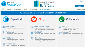 GREAT RESOURCE - FREE TUTORING  From the Santa Clara Public Library.