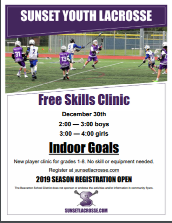 Sunset Lacrosse Clinic (See Flyer Link Below)