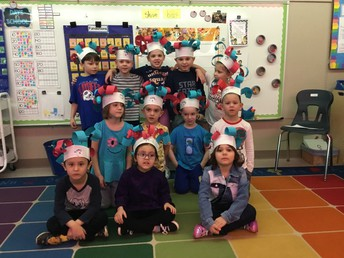 A class of students wearing Dr. Suess hats.