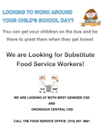 We are Looking for Substitute Food Service Workers!