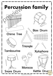 Percussion Family coloring sheet