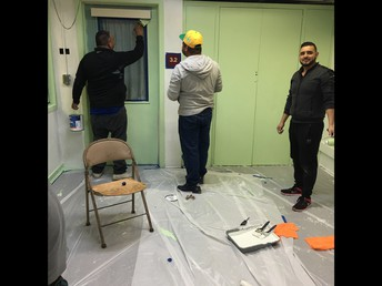 Basketball Dads painting our Mindful Room