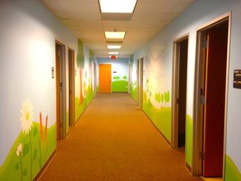 """Follow the Yellow Brick Road"" to Preschool garden hall."