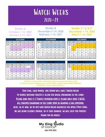 Re-vamped Watch Week Schedule