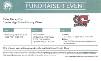 SHOW YOUR SUPPORT FOR CHS VARSITY CHEER BY EATING AT PANDA EXPRESS