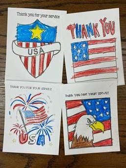 Thank you coloring sheets of flags and fireworks