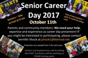 Seeking particpants for this year's Senior Career Day!