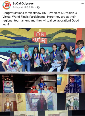 Westview HS's Odyssey Competes in Virtual Championships