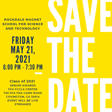 A Yellow background with large white letters stating Save the Date for Friday, May 21st from 6-7:30pm.