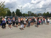 Parent volunteers viewing the eclipse!
