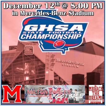 Go Eagles!  Milton High School Championship Game - 12/12